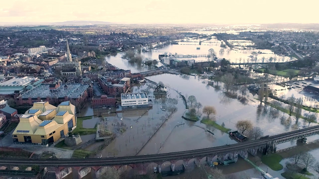 Aerial Video of Worcester Floods
